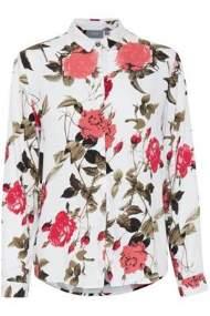salg af b-young skjorte bluse i hvid med røde roser