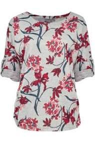 salg af b-young strik med blomster pleta print blouse