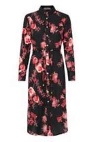 salg af Dranella kjole i sort print med blomster