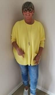 salg af Janne K Over size strik trøje i lækker gul