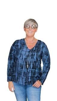 salg af Janne K skjorte bluse i sort/blå