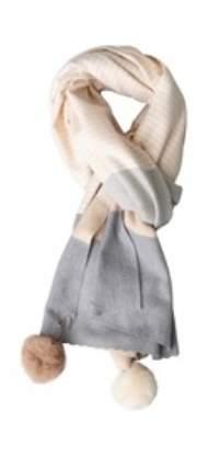salg af Janne K Tørklæde med kvaster i lyse farver