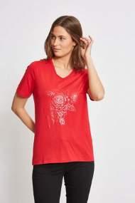 salg af Lau Rie T-shirt i Høj Rød med print