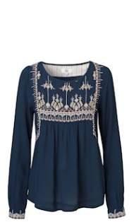 salg af Noa Noa Skjorte bluse med broderi i blå