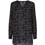 salg af Peppercorn skjorte bluse i marine blå med grønne blade