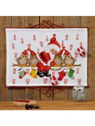 salg af Permin jule kalender julemand med ugler. måler 58 x 41 cm.