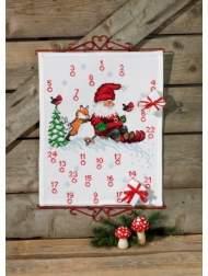 salg af Permin jule kalender med nisse og ræv og kanin. måler 40 x 50 cm.
