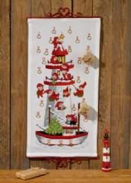 salg af Permin julekalender med Fyrtårn og båd måler 35 x 68 cm.