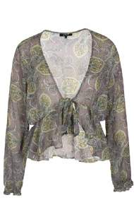 salg af ZE-ZE bluse med mønster grøn