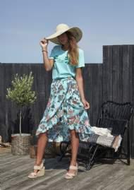 salg af Ze-Ze Nederdel med flæser i turkies