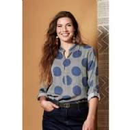 salg af Ze Ze skjorte bluse i blå med prikker