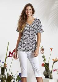salg af Ze-Ze skjorte bluse i sort med palme blade