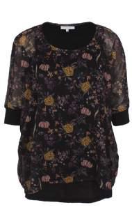 salg af ZEZE bluse med blomster & blade